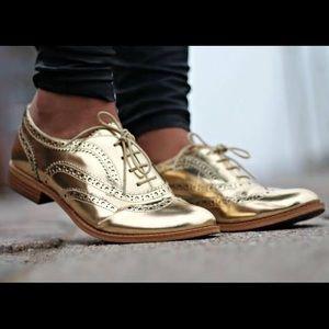 Sam Edelman Jerome Oxford Gold Flats